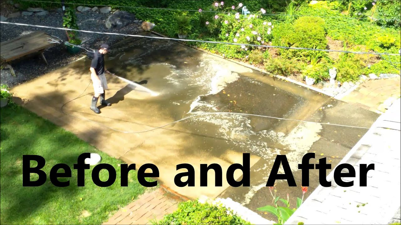 Power Washing a Concrete Patio YouTube