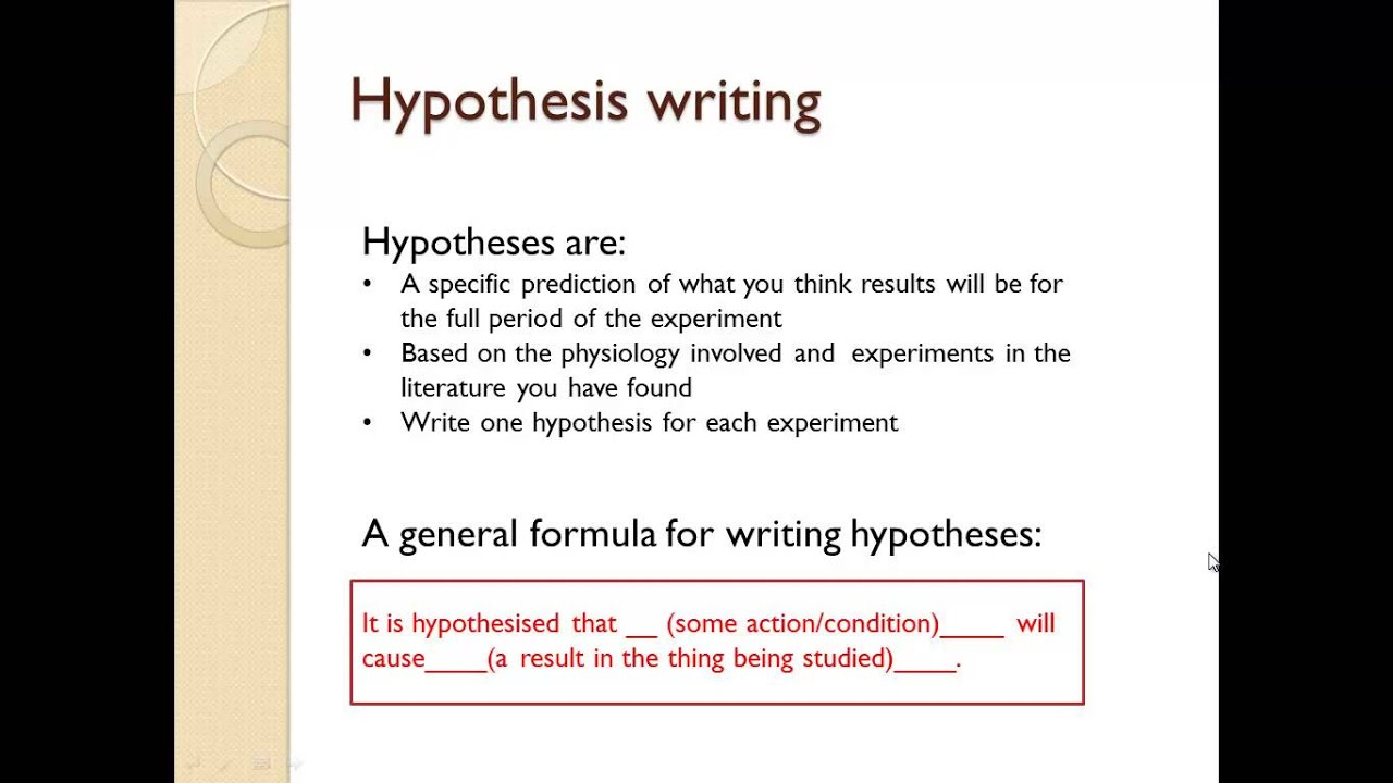 experimental hypothesis essay A guide to writing scientific essays  hypothesis is based on an oversimplified and inadequate psychological model, and is thus unable to explain most cases of.