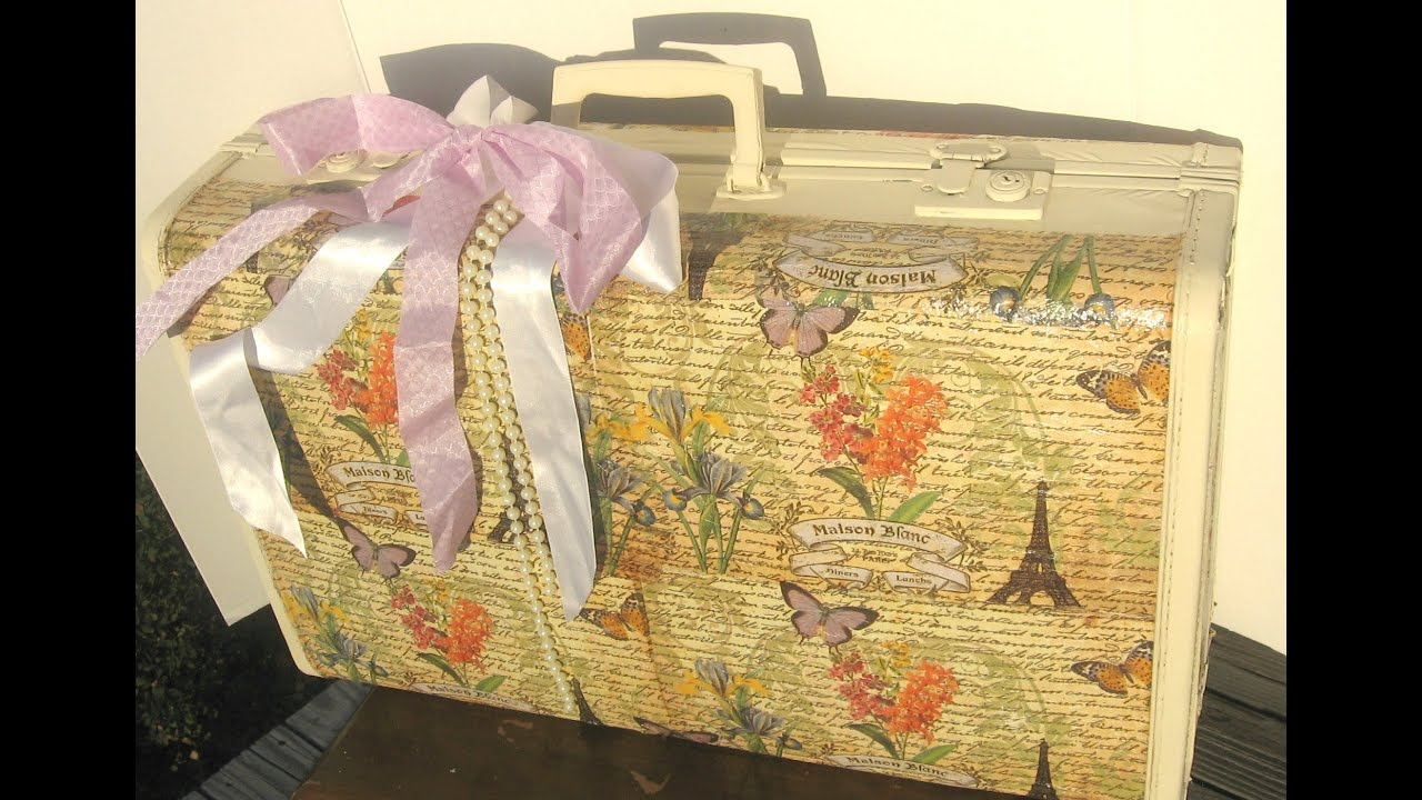 how to decoupage a vintage suitcase/ DIY Altered Vintage Suitcase ...