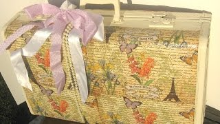 how to decoupage a vintage suitcase/  DIY Altered Vintage Suitcase