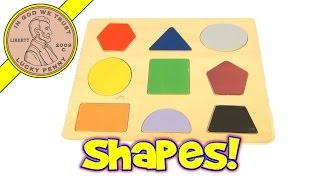 Learn Shapes and Colors Wood Puzzle - Circle, Triangle, Pentagon, Square, Oval, Trapezoid