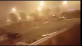 إعصار رهيب يضرب مكة المكرمة شاهد قوة الإعصار سبحان الله