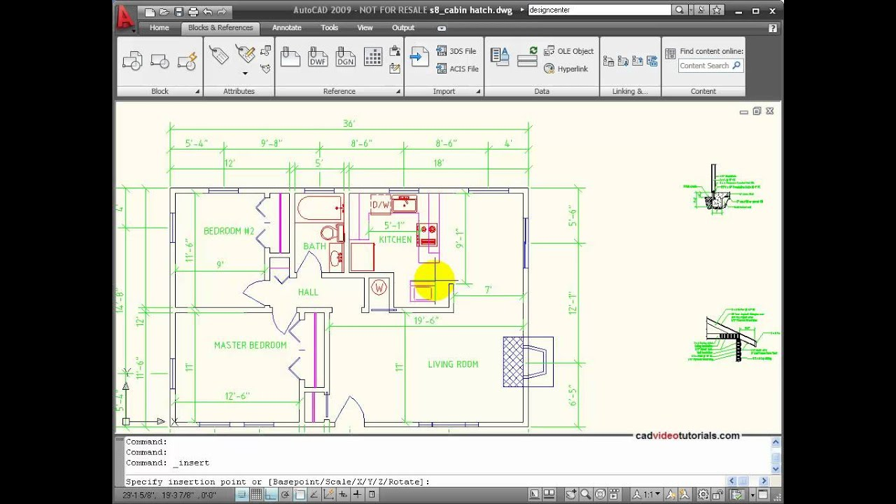 House Design Layout 3d Autocad Tutorial Inserting Blocks And Symbols Youtube