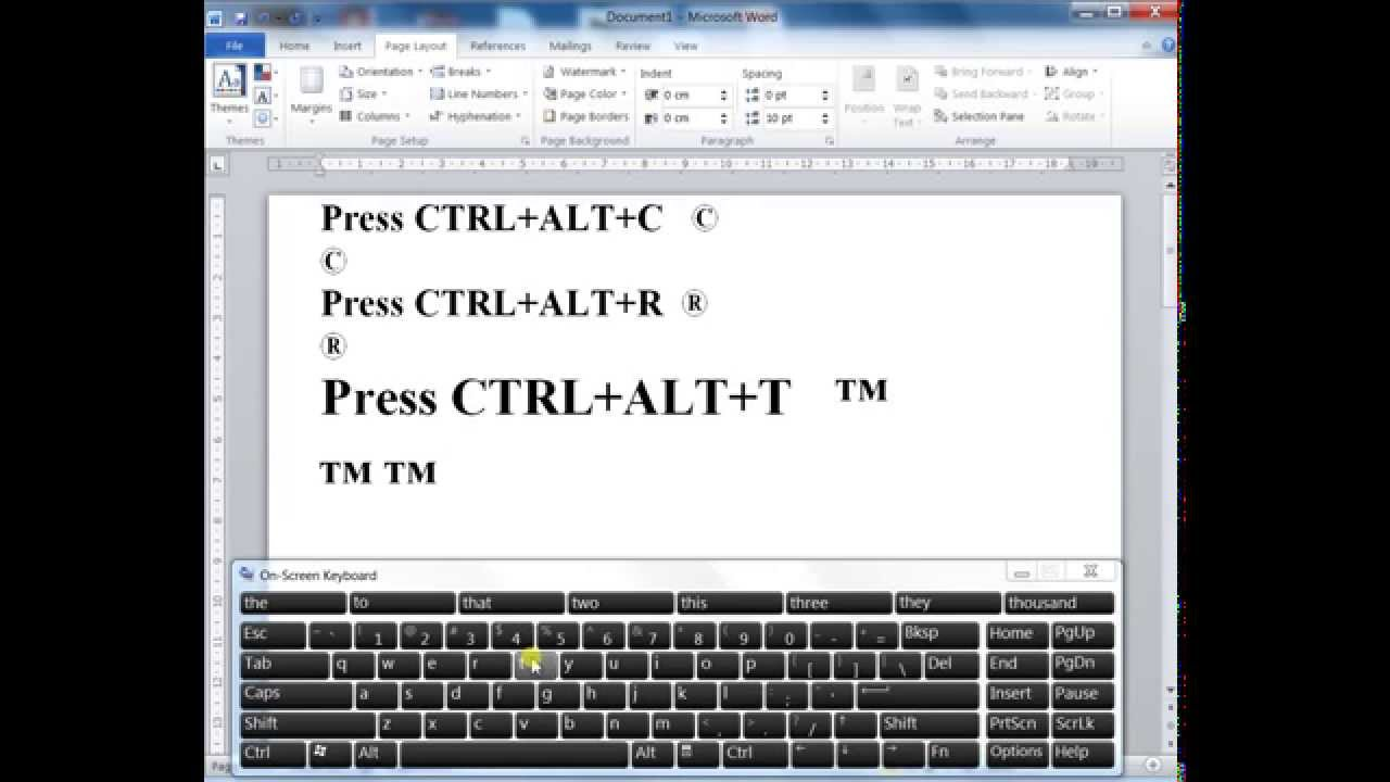 How To Type Copyright Registered And Trade Mark Symbol In Ms Word