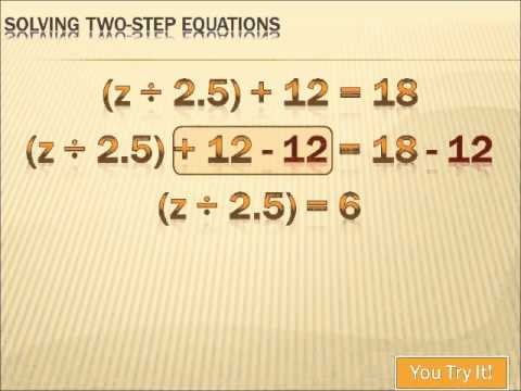 Algebra - Solving Two-Step Equations: 6th grade math - YouTube