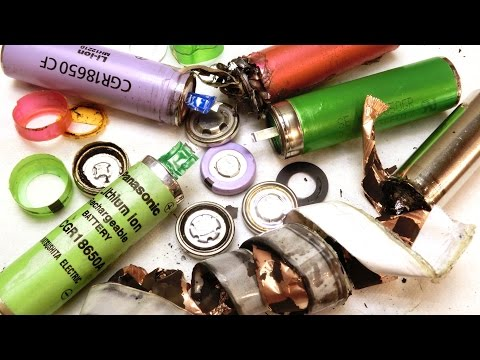 Opening 18650 cells: Panasonic Sanyo Sony Generic Lithium-ion Battery Teardown