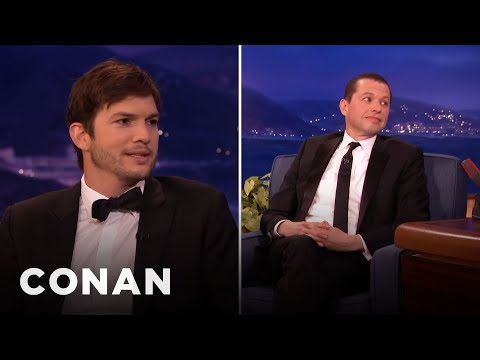 Jon Cryer and Ashton Kutcher On Kissing Each Other  - CONAN on TBS