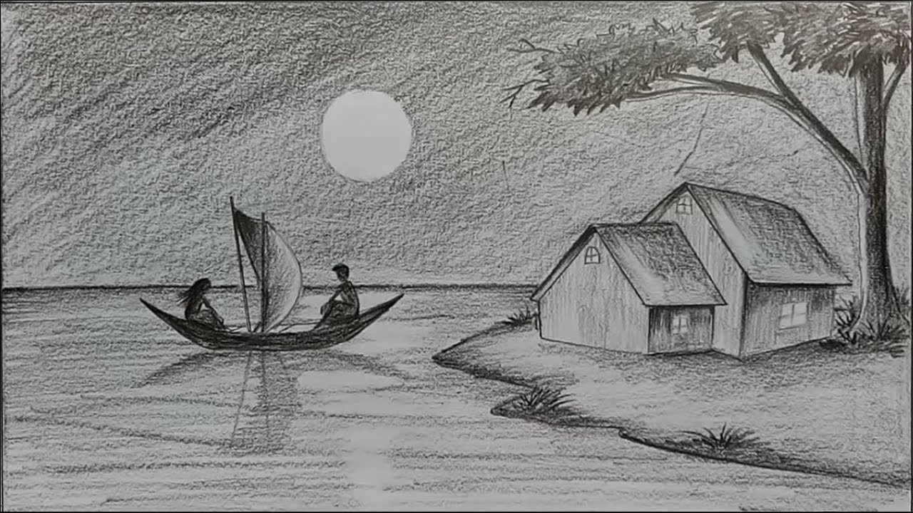 How to draw moonlit night with pencil step by step farjana drawing academy