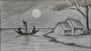 How to draw moonlit night with pencil step by step
