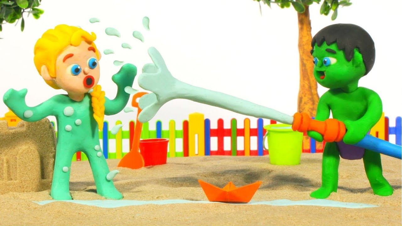 SUPERHERO BABIES PLAY WITH A HOSE ❤ Spiderman, Hulk & Frozen Elsa PlayDoh Cartoons For Kids