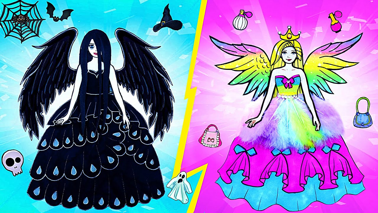 Paper Dolls Dress Up ~ Costumes Sadako Angel & the Devil Rapunzel Handmade Quiet Book ~ Dolls Beauty
