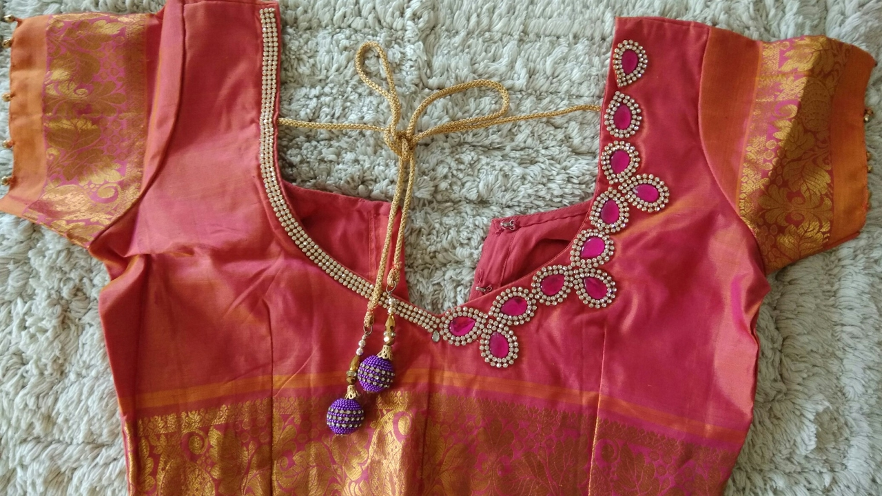 DIY:How to design Kundan stone work on blouse at home without any ...