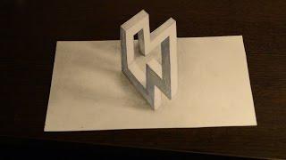 Как нарисовать  3D рисунок карандашом Илюзия/Impossible figure 3D drawing ilyuzy(Перед вами Невозможная фигура Как же она нарисована? ПРОСТЫЕ 3D рисунки ..., 2015-12-04T16:58:29.000Z)