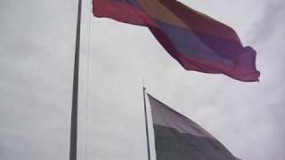 banderas Antioquia y Colombia en el pueblito paisa