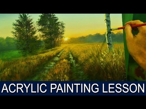 Acrylic Landscape Painting Tutorial | Sunrise on Road with B