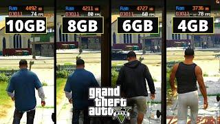 GTA 5\V   4gb vs 6gb vs 8gb vs 10gb   Ram Test   2020