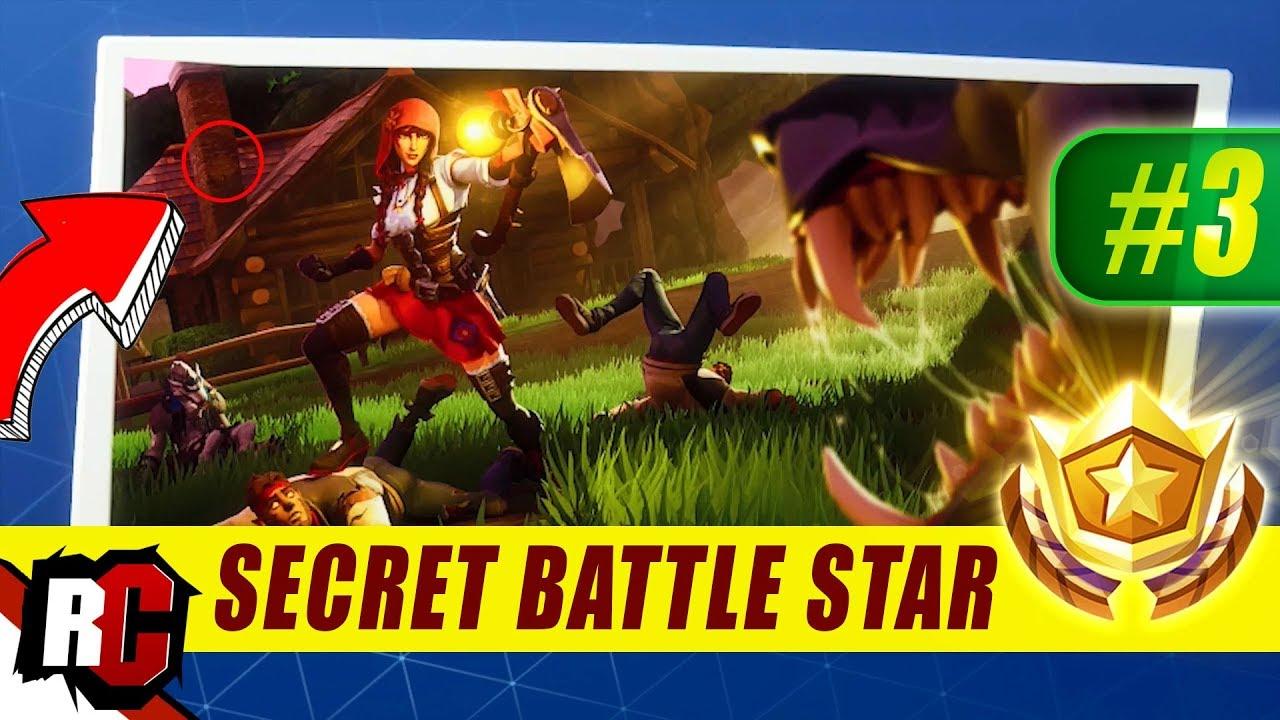 Secret Battle Star Location WEEK 3 Fortnite | Season 6 Hunting Party  (Secret Battle Stars/Banners)