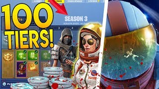 "Season 3 Tier 100 Battle Pass Unlock in Fortnite Battle Royale ""NINJA & SPACE SKINS"" + FREE V BUCKS"