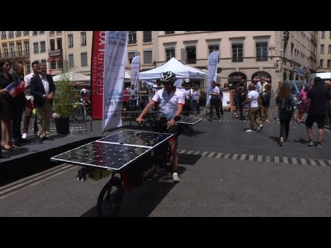 Cyclists set off from France to China on solar bikes