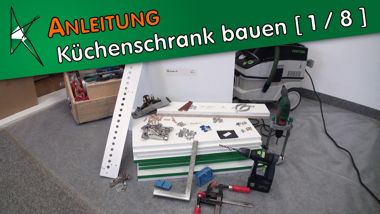 k chenschrank selber bauen 1 8 vorstellung der m belbeschl ge youtube. Black Bedroom Furniture Sets. Home Design Ideas