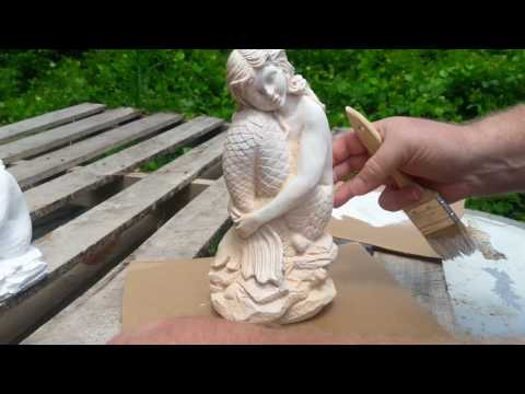 Painting concrete statuary with an easy marble like finish