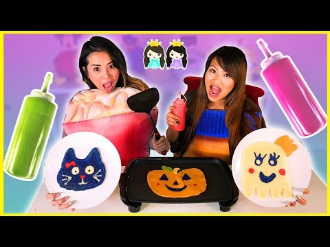 PANCAKE ART CHALLENGE! Halloween Edition with Princess ToysReview