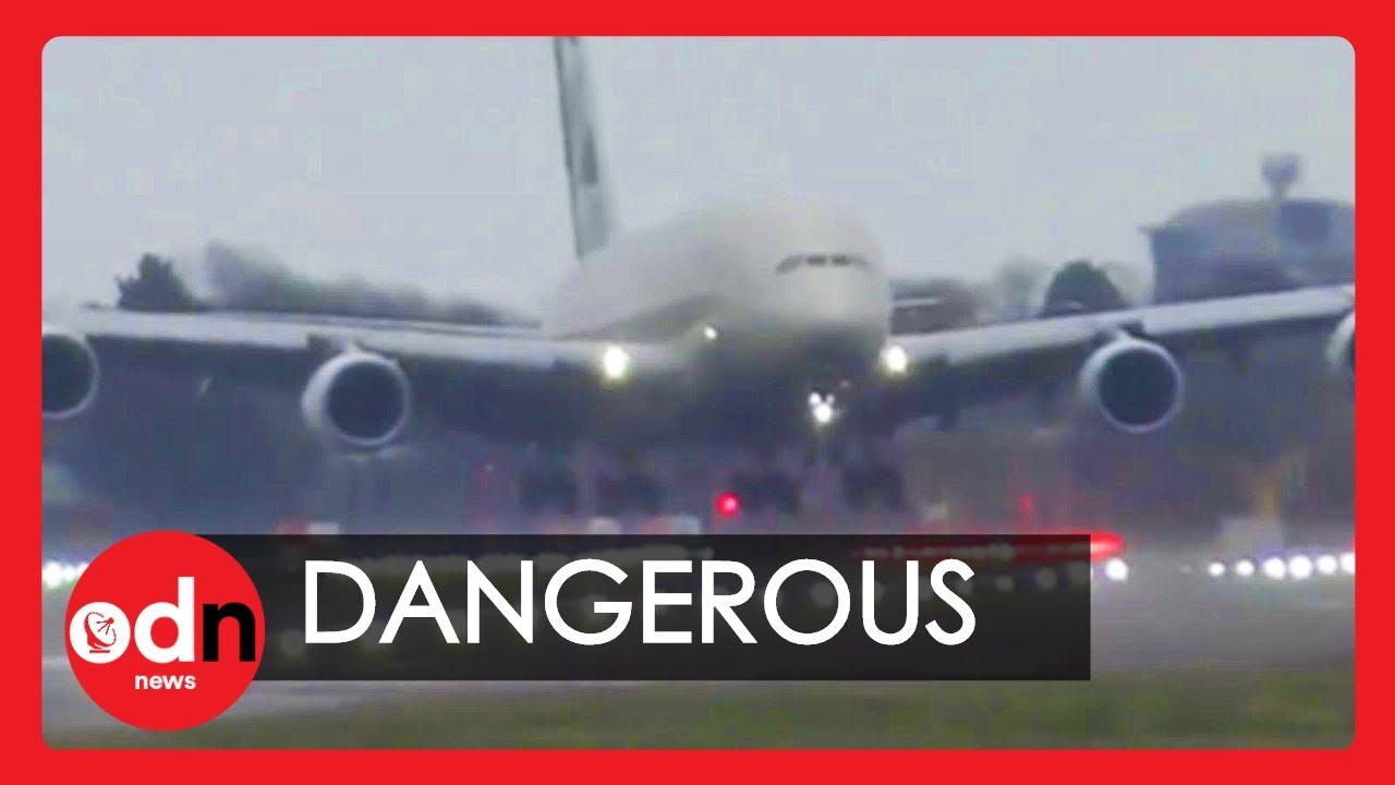 Storm Dennis: World's Largest Passenger Plane Lands Sideways at Heathrow
