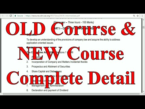 Syllabus for IPCC Old Course and New Course Students Full Details