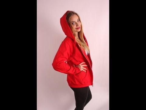 Gildan 18600PR női cipzáros kapucnis pulóver - YouTube d14900a9ae