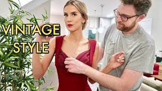 TRYING ON VINTAGE STYLE DRESSES | leighannvlogs