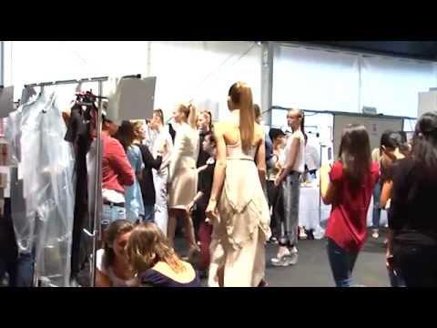 Backstage fashion show dress changing