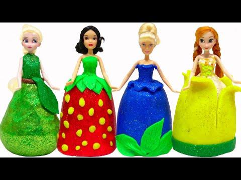 アナと雪の女王とプリンセス キラキラ フルーツドレスに変身❤DIY