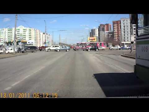 Автобус маршрут №60 Красноярск ул. 9 мая Высадка и проезд на красный