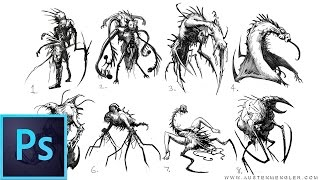 40 Necromorph Sketches - Concept Art in Photoshop