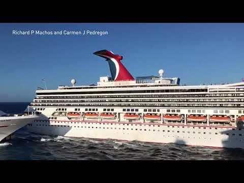 Two Carnival cruise ships collide at a dock in Cozumel