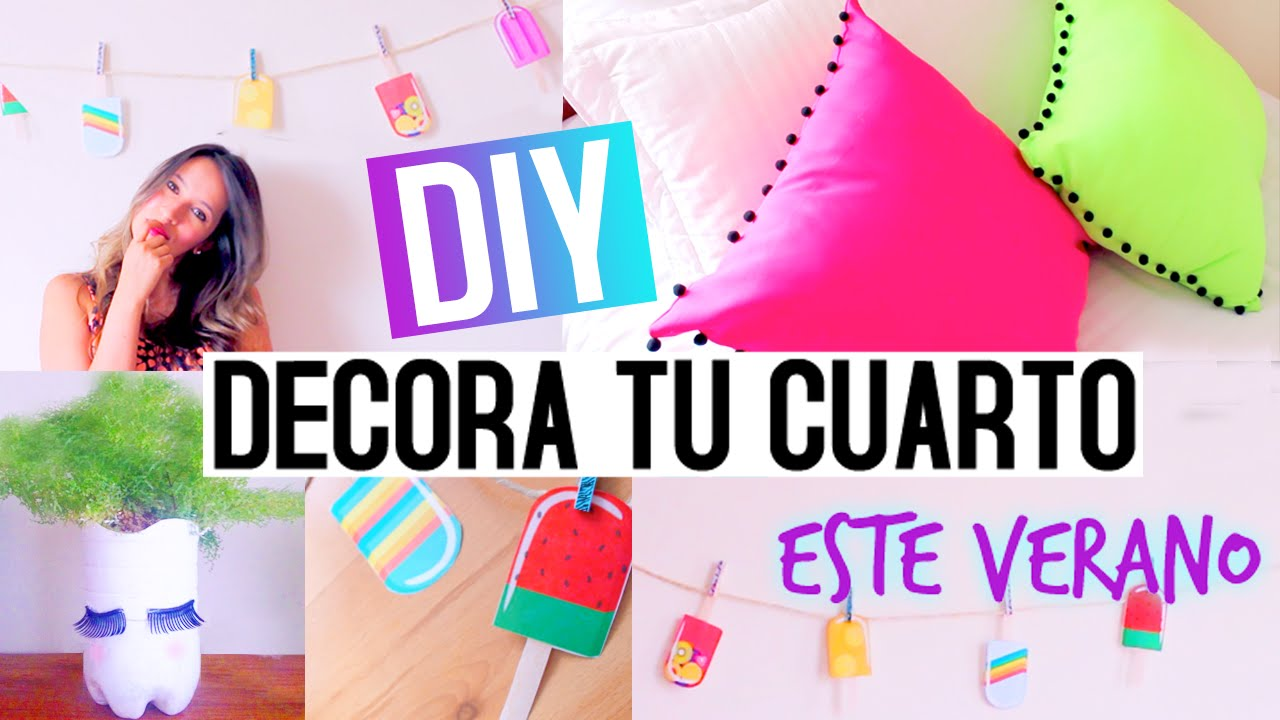 DIY: Decora tu cuarto este verano ♡ - YouTube on Room Decor Manualidades Para Decorar Tu Cuarto id=56517