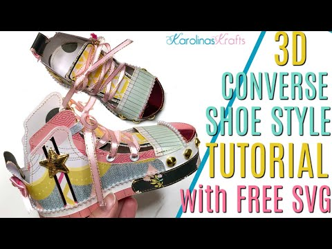 3D Paper Crafts Ft A Look Alike Converse Shoe Process With A FREE 3D Converse SVG File!