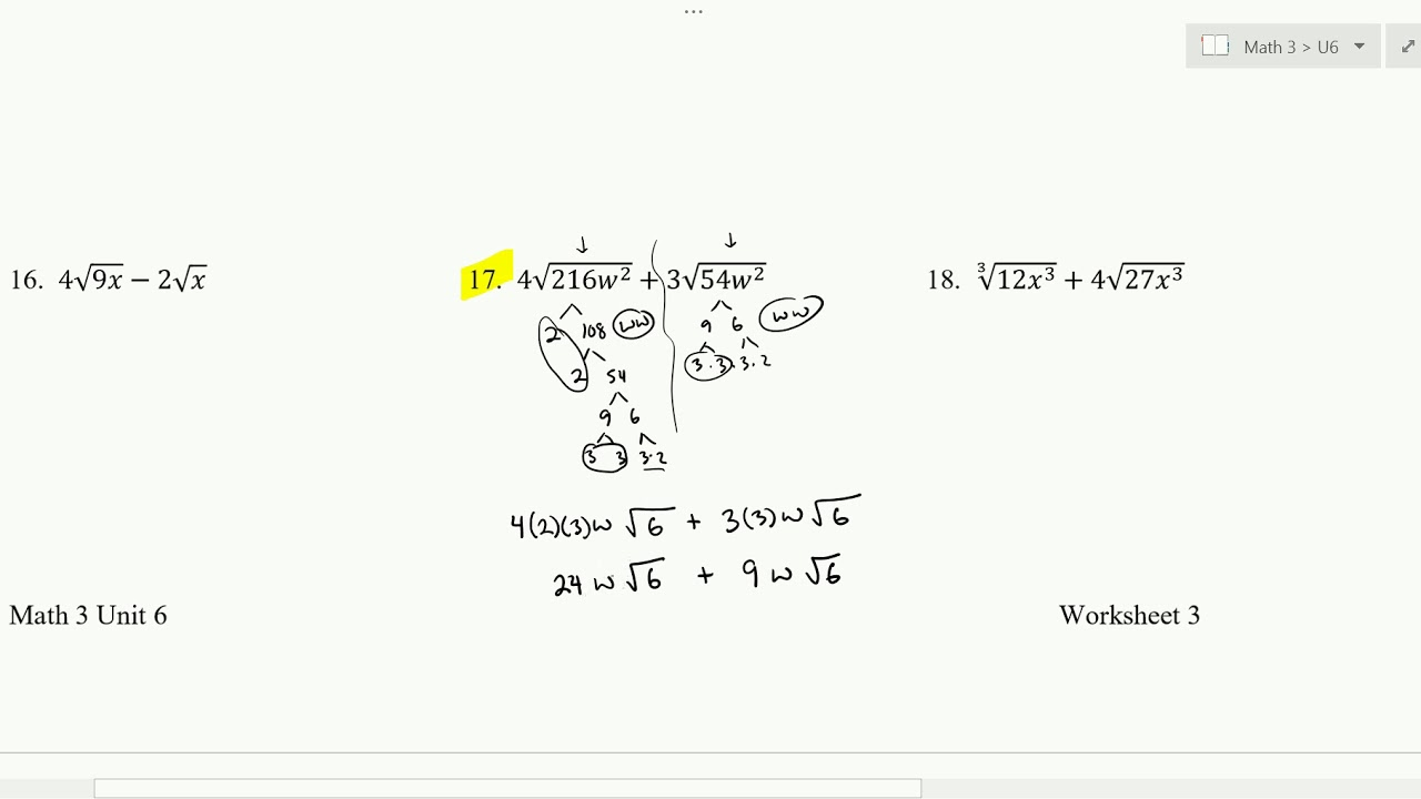 adding  subtracting radical expressions worksheet   youtube adding  subtracting radical expressions worksheet