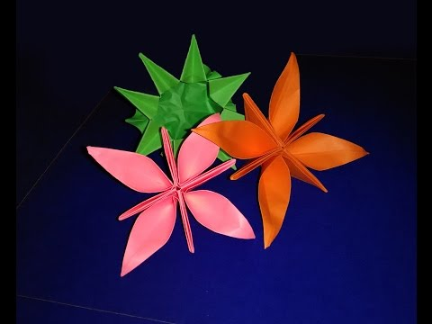 Origami summer flower -  Easy paper flower. Origami lily