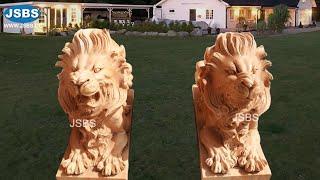 Stone Carved Outdoor Decorative Garden Marble Lion Sculpture Statue Design for sale