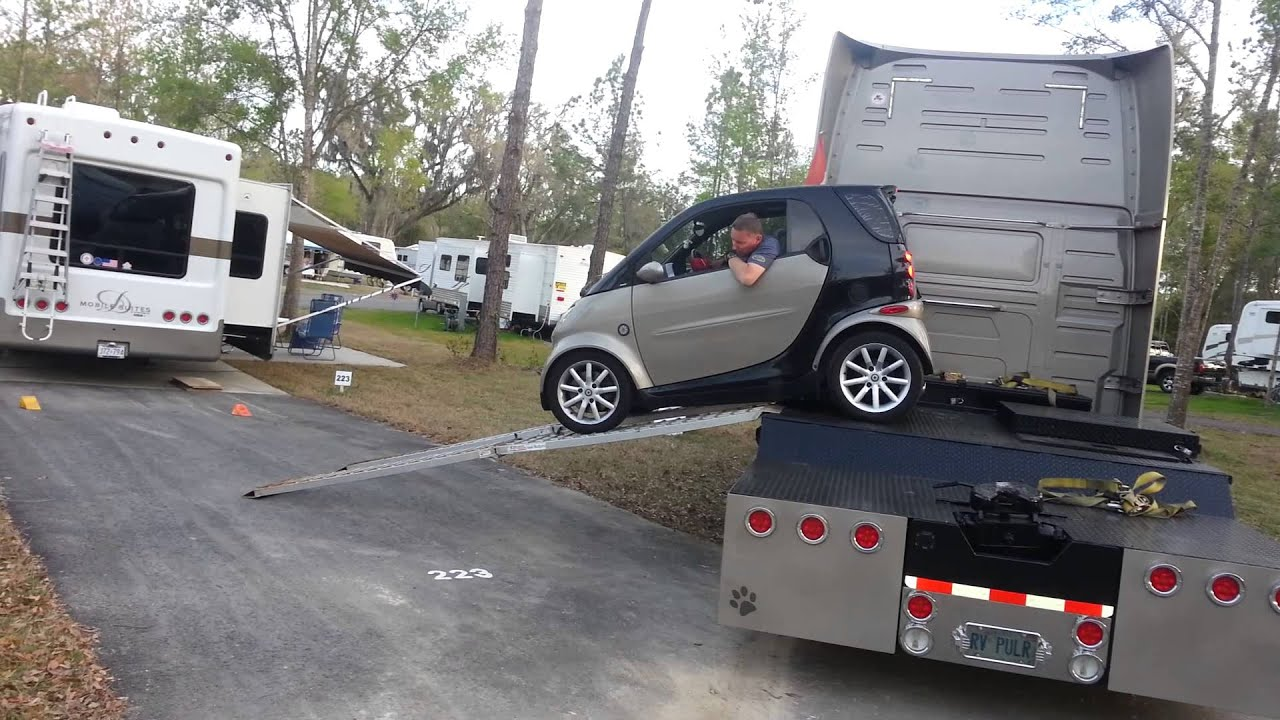 Smart Car Unloading From Semi At RV Park  YouTube