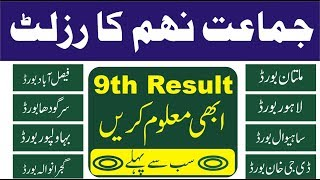 9th class Result 2018 All punjab boards pakistan