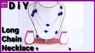 DIY Long Chain Multilayer Necklace with Glass Beads | Basic Handmade Jewellery Making Tutorial