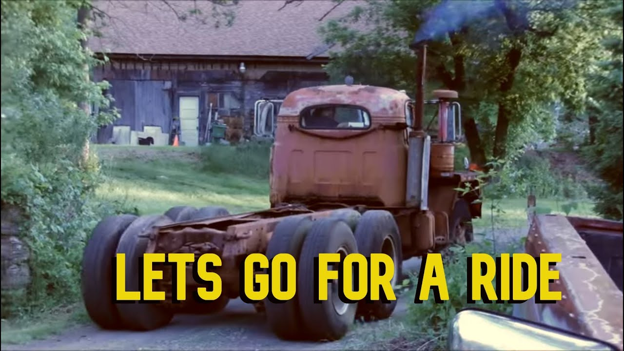 Drive along in Rudy's 1963 Mack B81 - Cold start - Old sel on