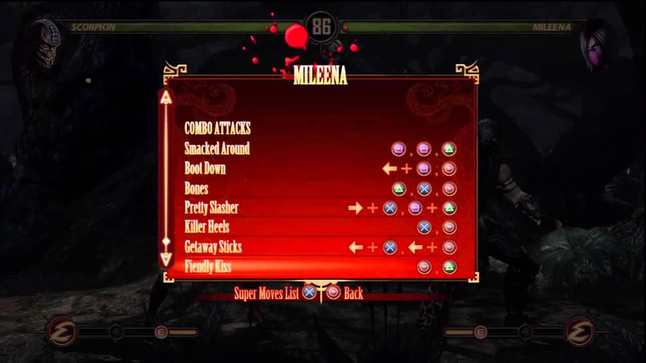 Mortal Kombat 9 Mileena's Move list