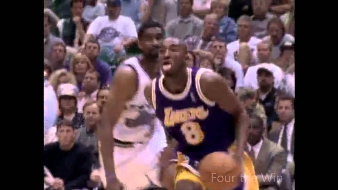 Kobe Bryant tongue out imitates Jordan with dunk on Antoine Carr