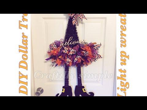 DIY Dollar Tree Light Up Witch hat Wreath | Halloween Crafts