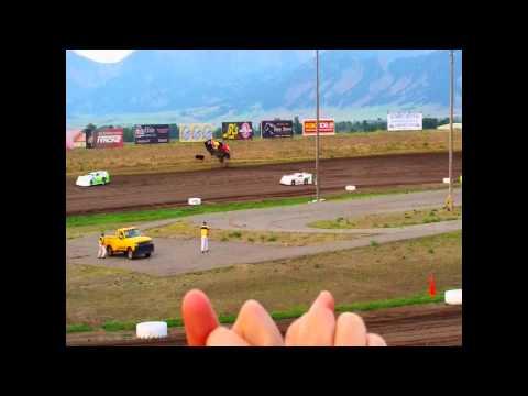 INSANE dirt Late Model flip (MUST SEE FOOTAGE) J.D. Olsen #31 Gallatin Speedway 7/12/14