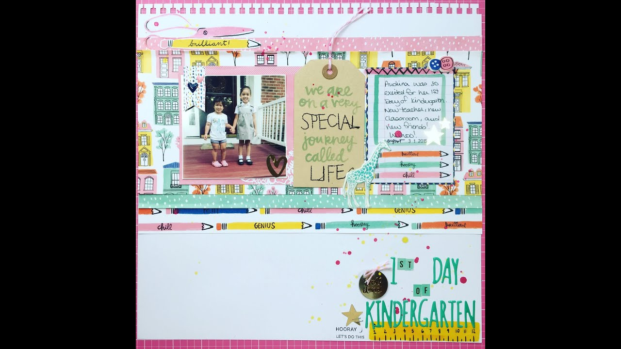 Scrapbook ideas kindergarten - Finders Keepers Scrapbook Layout Process 1st Day Of Kindergarten 2016 10 13