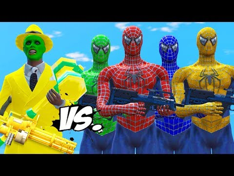 Spider-Man, Green Spiderman, Blue Spiderman, Yellow Spiderman VS The Mask